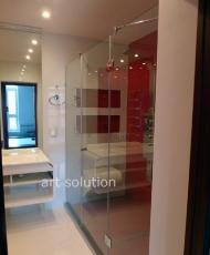 перегородка в ванную из прозрачного стекла