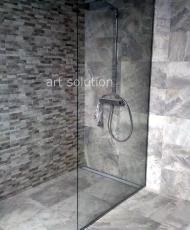 4 прозрачная перегородка до пола в ванной