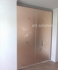 бронзовые стеклянные двери раздвижные