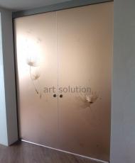 стеклянные двери раздвижные бронзовые